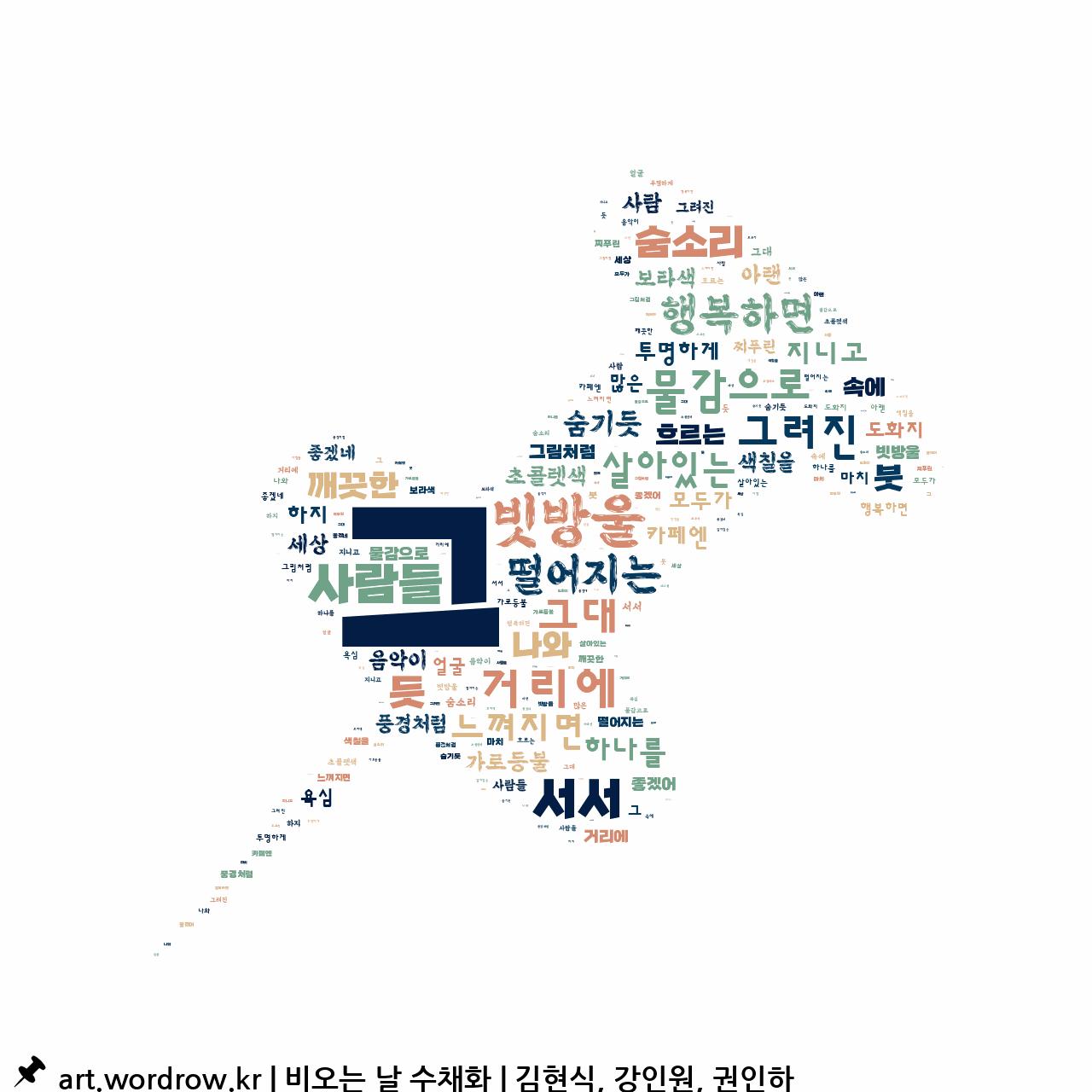 워드 클라우드: 비오는 날 수채화 [김현식, 강인원, 권인하]-70